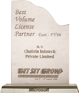 Microsoft Partner Summit 2006 Best Volume Licence Partner FY 2006 (East)
